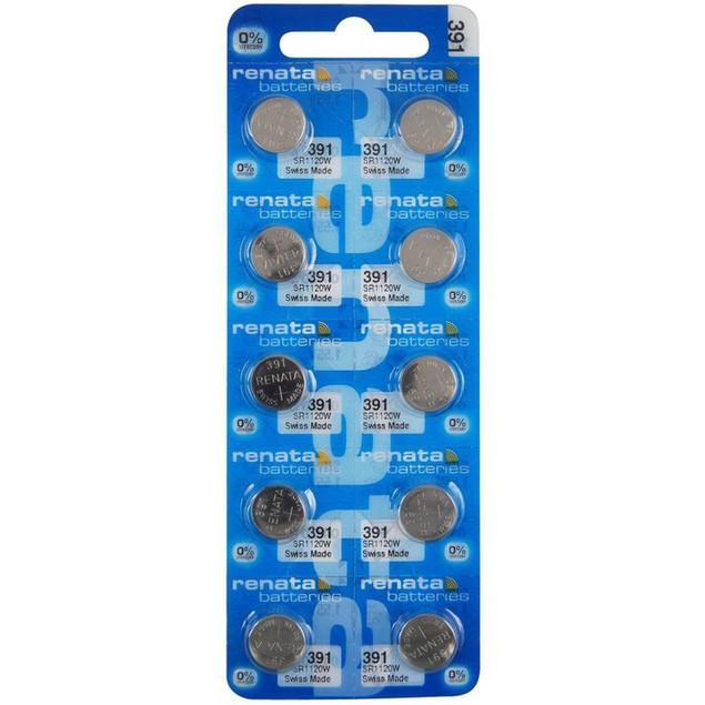 Renata 391 (SR1120W) Silver Oxide Watch Batteries (10 Pack)