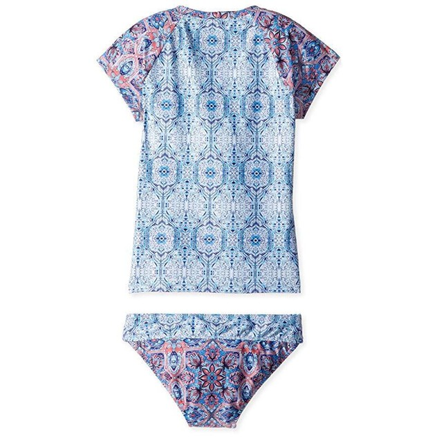Seafolly Big Girls' S/S Surf Set Swimsuit, Blue Tile, 6