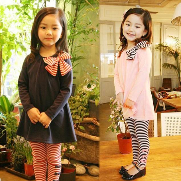 2Pcs Baby Girls Clothing Long Sleeve Bowknot Dress +Stripe Pants