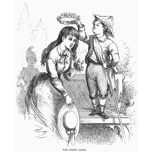 Children: Love. /N'The First Love.' Wood Engraving, American, 1876, After D