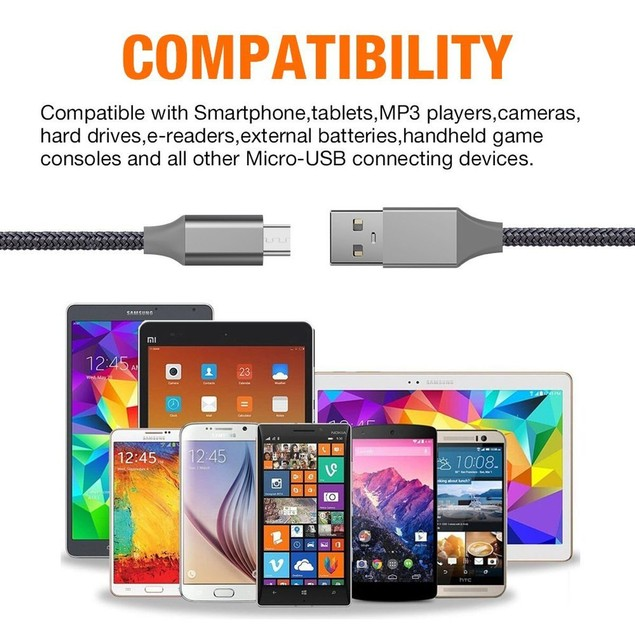 Micro USB 10 ft Braided Cable for Samsung and Android Devices