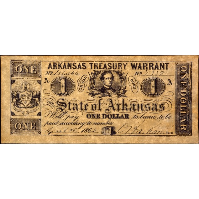 Confederate Banknote. /Ntreasury Warrant For One Dollar Issued By The Confe