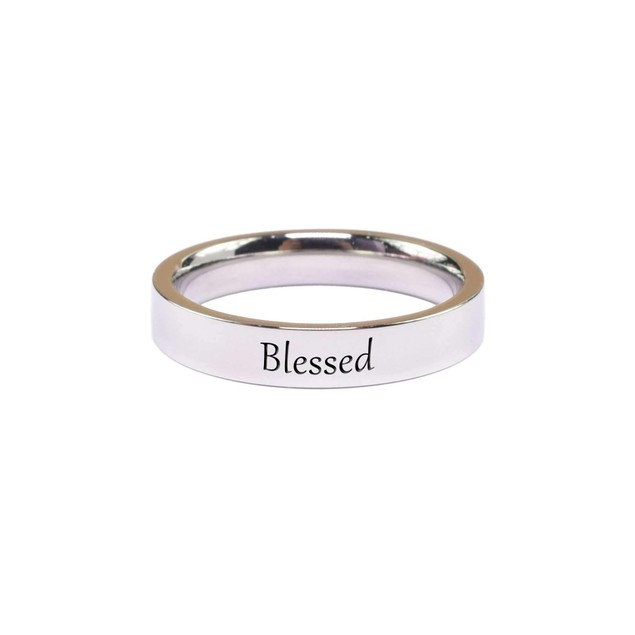 Solid Stainless Steel Inspirational Ring - 19 Quote Options