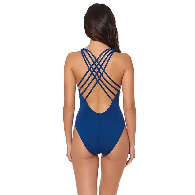Bleu Rod Beattie Women's One Piece X-Back Tank Swimsuit Navy 8