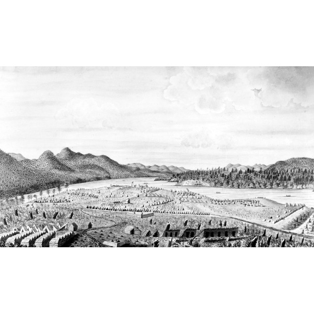 Crown Point, 1759. /Nsouth View Of The Fort At Crown Point On Lake Champlai