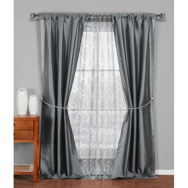 6 Piece Set Blackout Room Darkening Window Curtain Panel Living room Drape