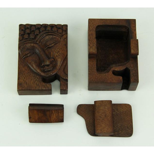 Hand Crafted Wood Happy Buddha Puzzle Trinket Box Decorative Boxes