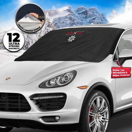 Heavy Duty Windshield & Wiper Snow Ice Cover and Protector - Strong Magnets
