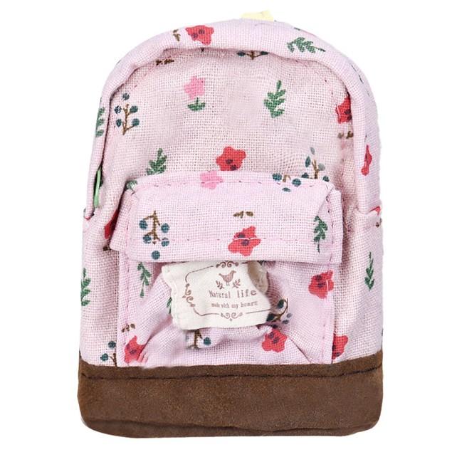 Canvas Mini Floral Backpack Women Girls Kids Cheap Coin Pouch