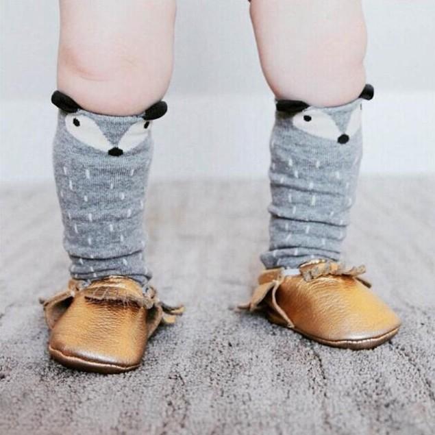 Toddlers Kids Fox Pattern Knee High Socks