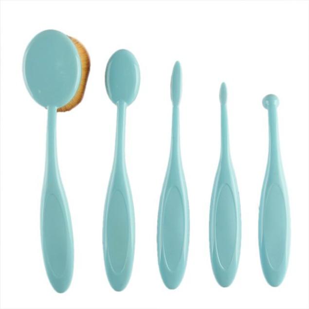 5PC Toothbrush Style Eyebrow Brush Foundation Eyeliner Makeup Brushes