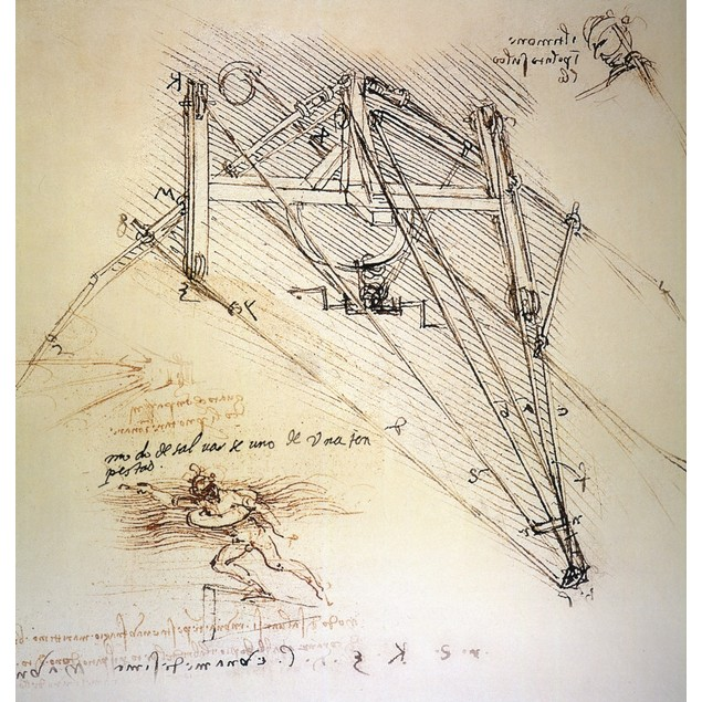 Leonardo: Ornithopter. /Ndrawings By Leonardo Da Vinci Of An Ornithopter Wi
