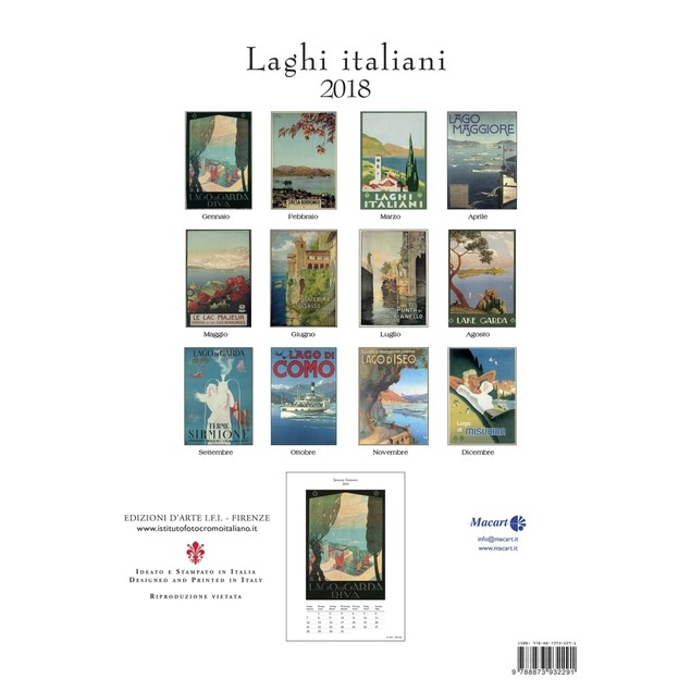Laghi Italiani Wall Calendar (Bilingual), Travel Posters by Calendars