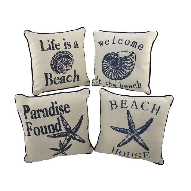 Set Of 4 Nautical Seashell Beach Themed Accent Throw Pillows
