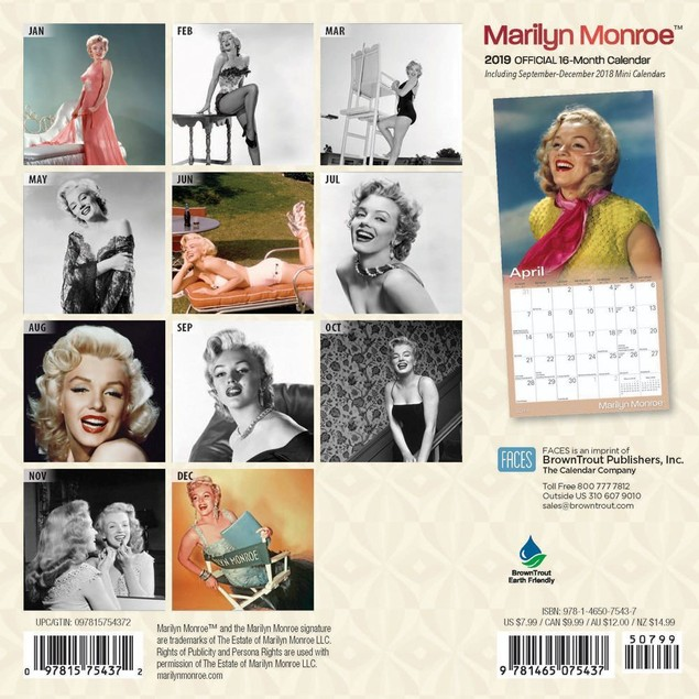 Marilyn Monroe Mini Wall Calendar, Female Movie Stars by BrownTrout