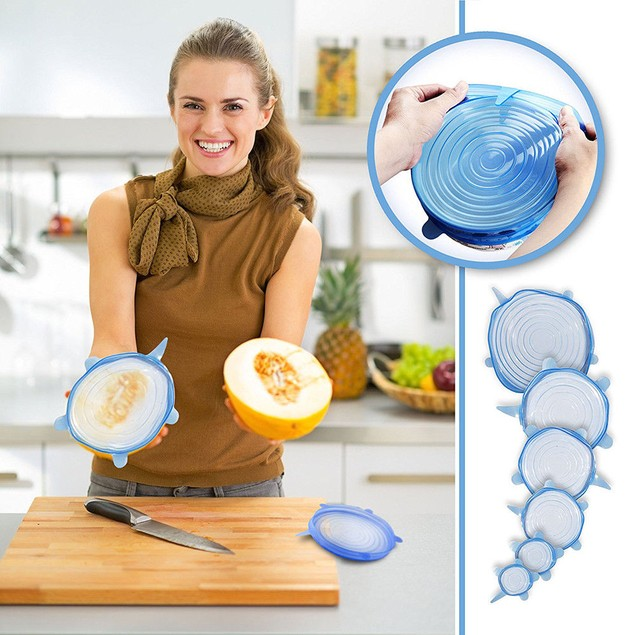 6pcs-Reusable Silicone Stretch Lids Kitchen Storage Wraps Cover