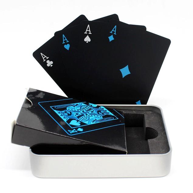Waterproof Black Poker Cards - Free Metal Case