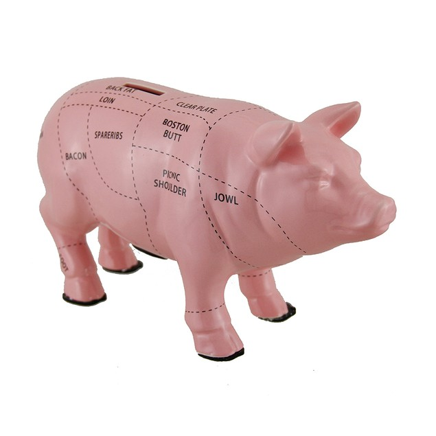 Pink Ceramic Pig Shaped Coin Bank Butcher Chart Toy Banks