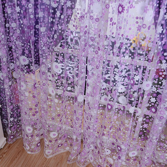 Print Floral Voile Door Sheer Window Curtains Room Curtain Divider