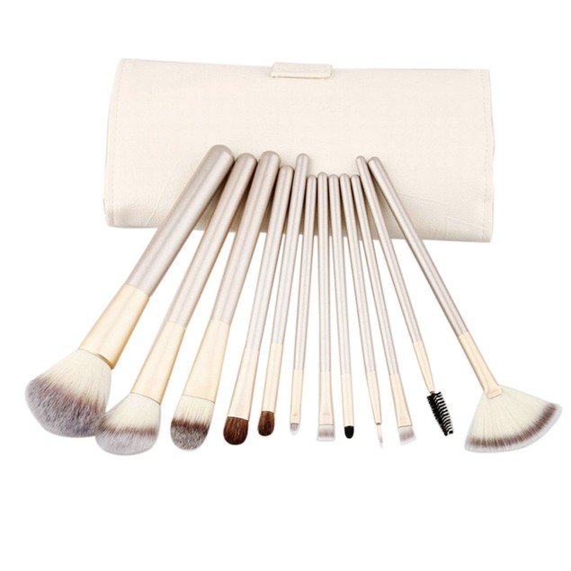 12pcs Makeup Brushes set Fondation Eyeshadow Cosmetic Tool with Leather