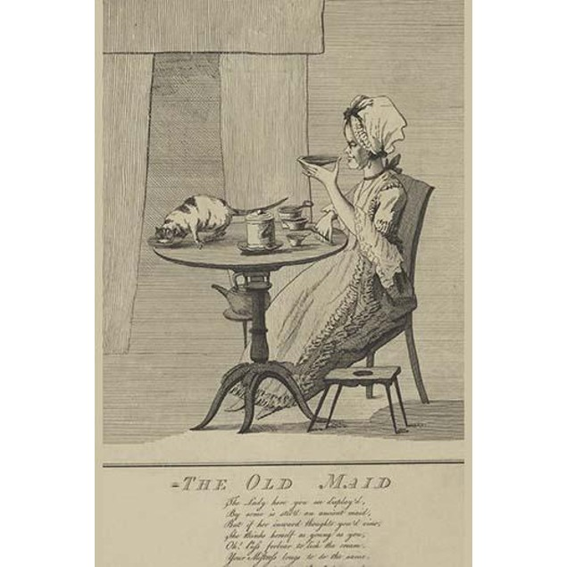 An elderly woman seated at table drinking tea from a saucer and a cat stand