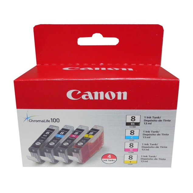 Genuine Canon CLI-8 B/C/M/Y 4PK Ink Cartridges set of 4 pack