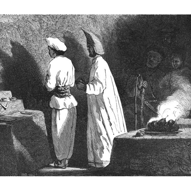 Iran: Temple Priests. /Ngueber Ceremonies At Temple Of Atech-Ga, Near Bakan