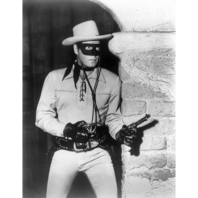 Lone Ranger Man Holding a Gun in Eye Mask and Hat Poster