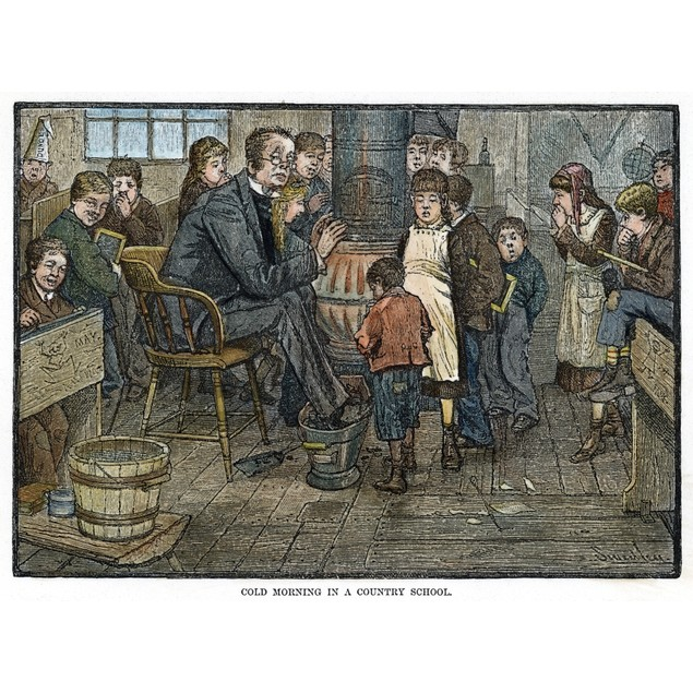 Elementary School, 1880. /Ncold Morning In A Country School. Wood Engraving