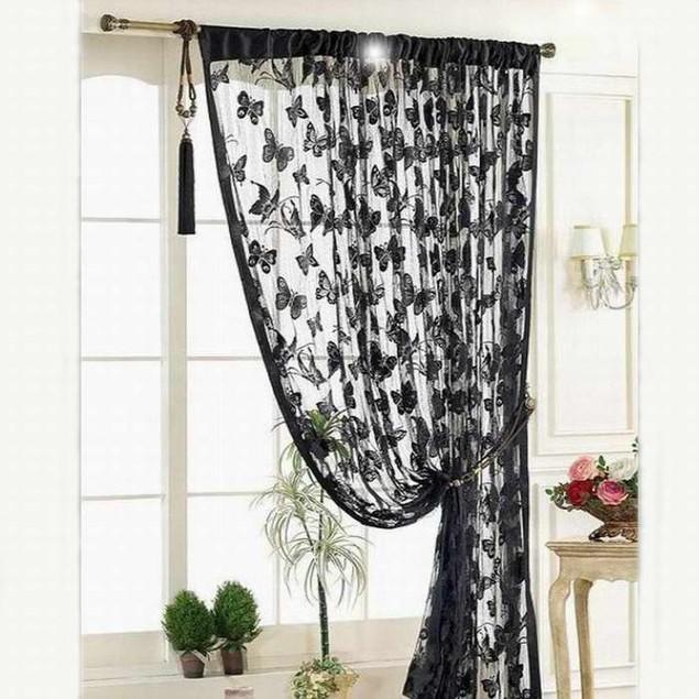 Window Curtain Strip Tassel Butterfly Pattern