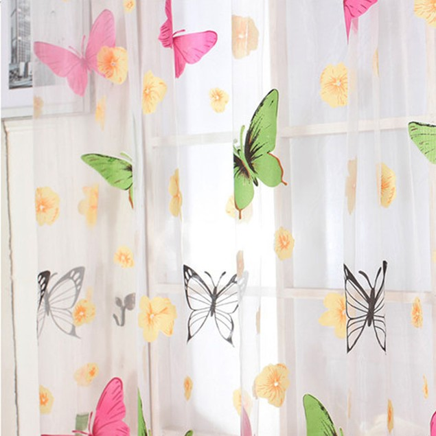 Butterfly Print Sheer Window Panel Curtains