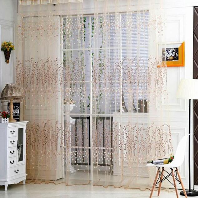 Tulle Door Window Curtain Drape Panel Sheer Scarf Valances