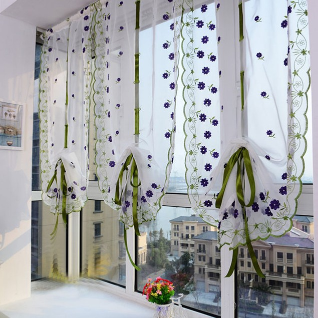 Embroidered Flower Tulle Window Screens Door Balcony Curtain