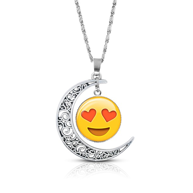 Premium Quality Emoji Necklace – Alloy & Glass – Crescent Pendant