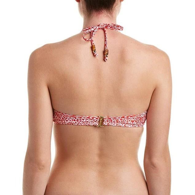 Shoshanna Women's Kilim Ikat Bra Halter Top Red/White Swimsuit Top