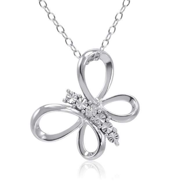 Diamond Accent Butterfly Pendant