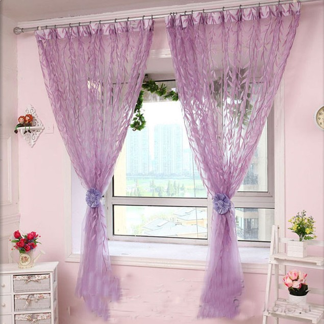 Willow Tulle Door Window Curtain Drape Panel Sheer Scarf Valances