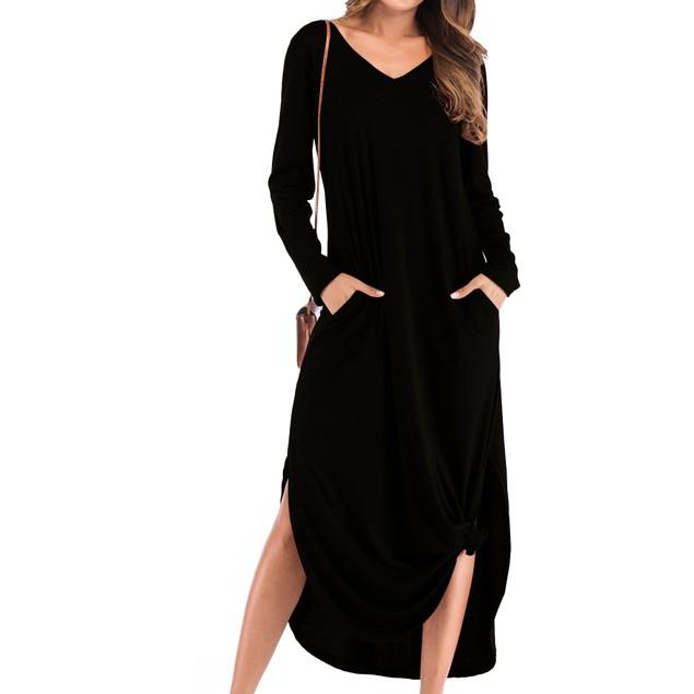 Long Sleeve Back Strap Maxi Slit Dress