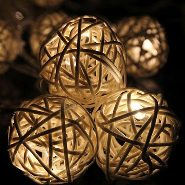 10 LED Color Rattan Ball String Fairy Lights For Party