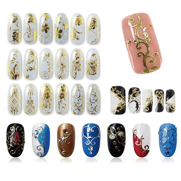 108Pcs 3D Gold Flower Nail Art Stickers Decals Stamping