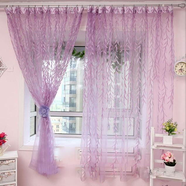 Willow Tulle Door Window Curtain Drape Panel Sheer Scarf Valances
