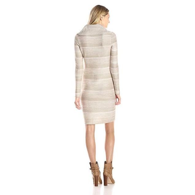 Calvin Klein Women's Mock Neck Spacedye Dress, Latte Multi, XL