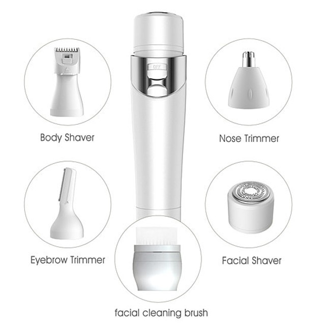 5 in 1 Powerful Ladies Electric Razor Painless Shaver USB Charger