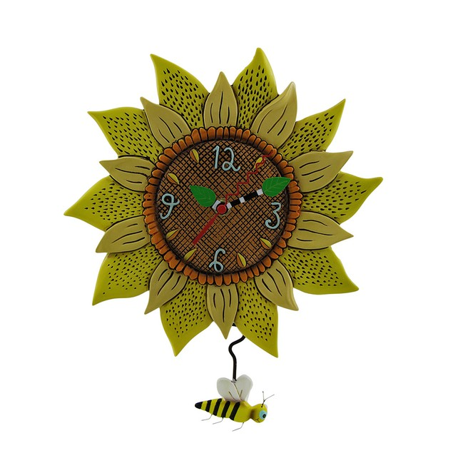 Allen Designs Bee Sunny Sunflower Wall Clock With Wall Clocks