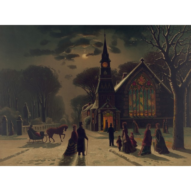 Snowy Scene with Church Poster