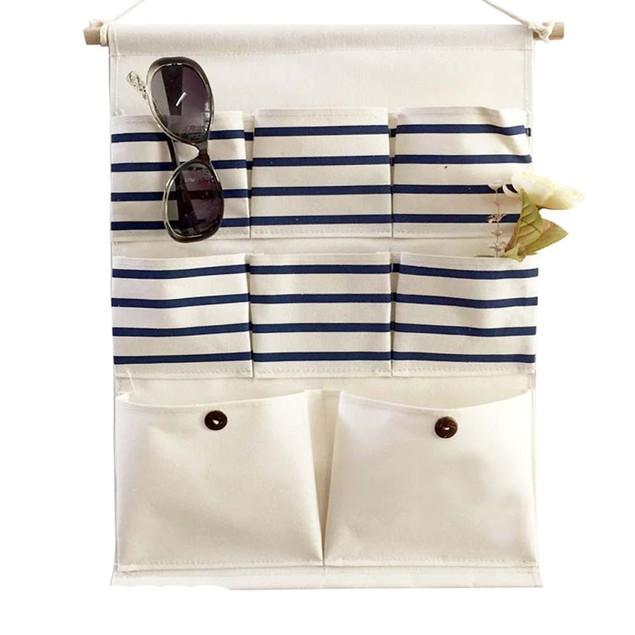 Cotton Storage Bag 8 Pocket Wall Hanging Bags Multi-layer Fabric Debris