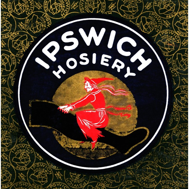 Box top art from ladies silk stockings showing a witch flying upon a stocki