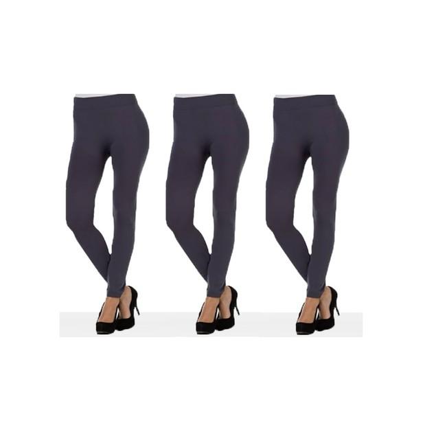 3 Pairs of Grey Women's Leggings - One Size