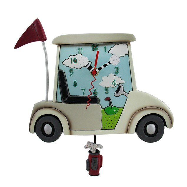 Allen Designs Stay The Course White Golf Cart Wall Clocks