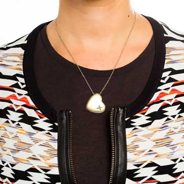 18K Yellow Gold Diamond Heart Necklace